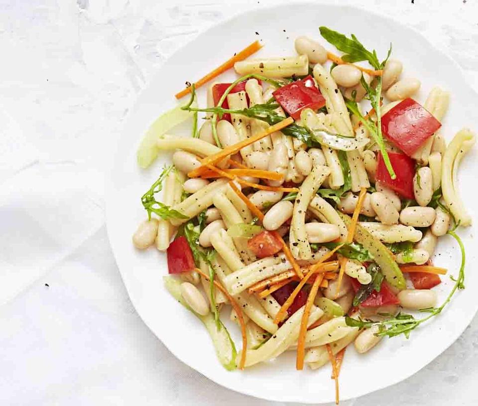 """<p>It's a summer cookout staple for a reason. This <a href=""""https://www.goodhousekeeping.com/food-recipes/easy/a34187/sweet-n-tangy-pasta-salad/"""" rel=""""nofollow noopener"""" target=""""_blank"""" data-ylk=""""slk:Sweet 'N' Tangy Pasta Salad"""" class=""""link rapid-noclick-resp"""">Sweet 'N' Tangy Pasta Salad</a> features tons of chopped veggies and a creamy balsamic dressing that's sure to hit the spot. </p><p><a href=""""https://www.goodhousekeeping.com/pasta-salad-recipes/"""" rel=""""nofollow noopener"""" target=""""_blank"""" data-ylk=""""slk:Get more pasta salad recipes »"""" class=""""link rapid-noclick-resp""""><em>Get more pasta salad recipes »</em></a><br></p>"""