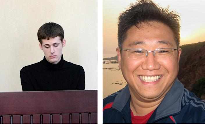 US citizens Kenneth Bae(R) and Matthew Miller were held in North Korea for two years and seven months respectively (AFP Photo/Handout)
