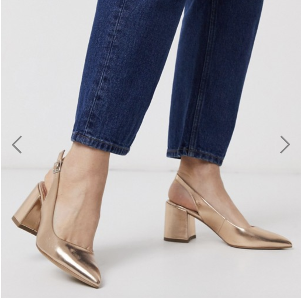 ASOS Sammy slingback mid-heels in rose gold, S$37.05 (was S$46.32). PHOTO: ASOS