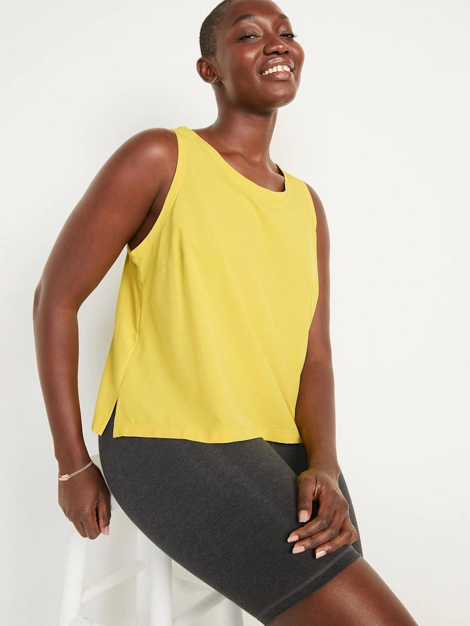 <p>Don't sweat your sweat when you have as this <span>Old Navy StretchTech Crop Tank Top</span> ($8-$10, originally $20) since it dries super quickly with side vents, too.</p>