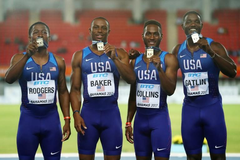 Mike Rodgers, Ronnie Baker, Leshon Collins and Ronnie Baker of the USA celebrate on the podium after placing first in the 4x100m relay final during the IAAF/BTC World Relays Bahamas 2017, at Thomas Robinson Stadium in Nassau, on April 22
