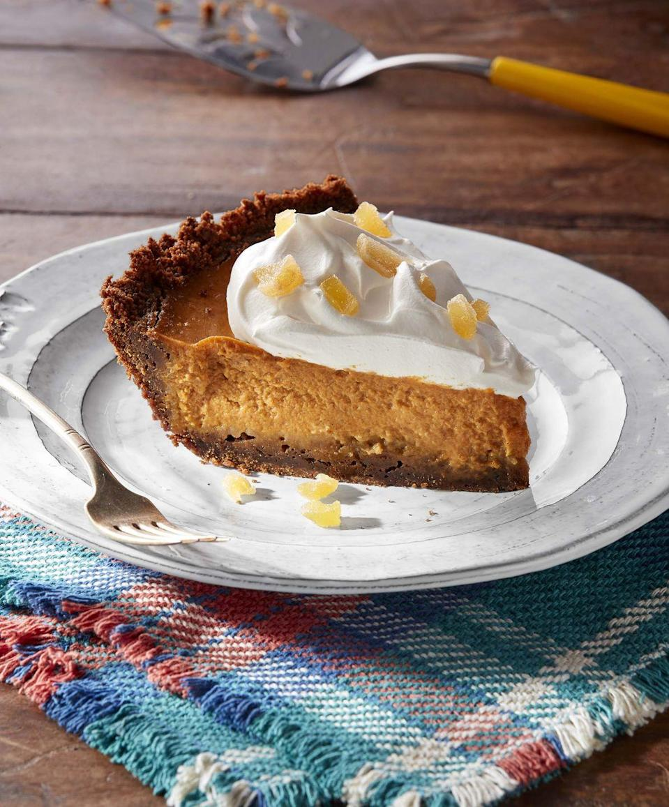 """<p>If you're going to make only one dessert for Thanksgiving, it's got to be pumpkin pie. But that doesn't mean it has to taste store-bought. Make this year's feast-finisher extra festive with not one but <em>four</em> different kinds of ginger, including a gingersnap cookie crust.</p><p><strong><a href=""""https://www.countryliving.com/food-drinks/a34275204/ginger-pumpkin-pie/"""" rel=""""nofollow noopener"""" target=""""_blank"""" data-ylk=""""slk:Get the recipe"""" class=""""link rapid-noclick-resp"""">Get the recipe</a>.</strong></p><p><strong><a class=""""link rapid-noclick-resp"""" href=""""https://www.lodgecastiron.com/product/seasoned-cast-iron-pie-pan"""" rel=""""nofollow noopener"""" target=""""_blank"""" data-ylk=""""slk:SHOP PIE PANS"""">SHOP PIE PANS</a><br></strong></p>"""