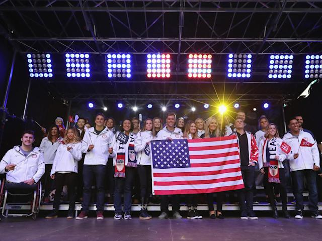 The Team USA in Times Square on 1 November 2017: Getty