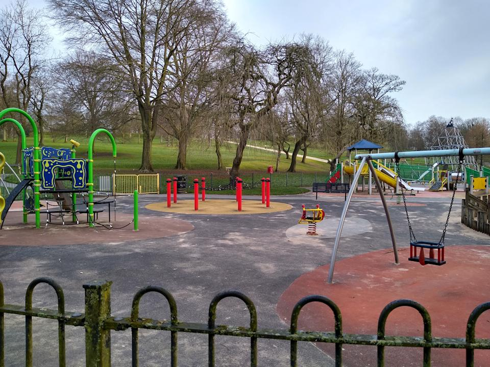 The Police at the scene this morning at Queen's Park in Bolton, Gtr Manchester 23 March 2020. Where a seven-year-old girl was stabbed to death in a park and a woman in her 30s has been arrested .The tragic youngster was reportedly stabbed in Queen's Park in Bolton, Gtr Manchester, on Sunday 22.