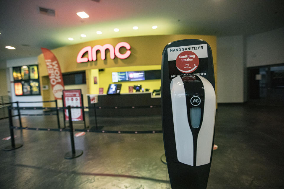SAN DIEGO, CALIFORNIA - SEPTEMBER 04: General view of the atmosphere at AMC La Jolla 12 on September 4, 2020 in San Diego, California.  San Diego is the first major California market to see indoor theaters reopening with AMC Cinemas and Regal Cinemas over the weekend.  AMC is reopening seven of its nine sites in San Diego County on Friday, a spokesman said.  The resumption is coming with Warner Bros., which plans to release Christopher Nolan's often-delayed thriller