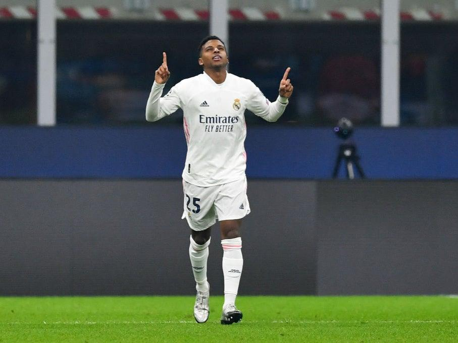 <p>Substitute Rodrygo celebrates scoring shortly after coming off the bench</p>Getty Images