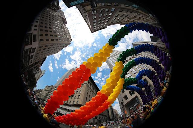 <p>The rainbow balloon arch stretches Fifth Avenue during the N.Y.C. Pride Parade in New York on June 25, 2017. (Photo: Gordon Donovan/Yahoo News) </p>