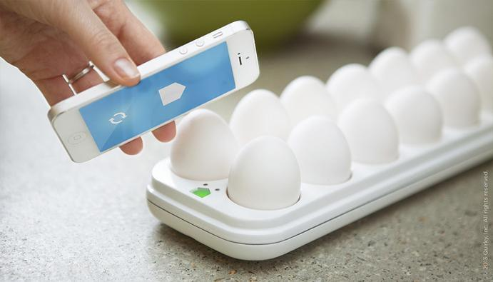 egg minder smart tray lets you remotely check the freshness of your eggs quirky phone