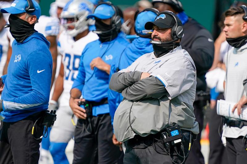 Detroit Lions head coach Matt Patricia watches during the second half against the Green Bay Packers Sunday, Sept. 20, 2020, in Green Bay, Wis.