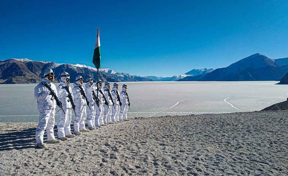 ITBP jawans celebrating Republic Day on the banks of Pangong Tso in Ladakh at a height of 14,000 feet.