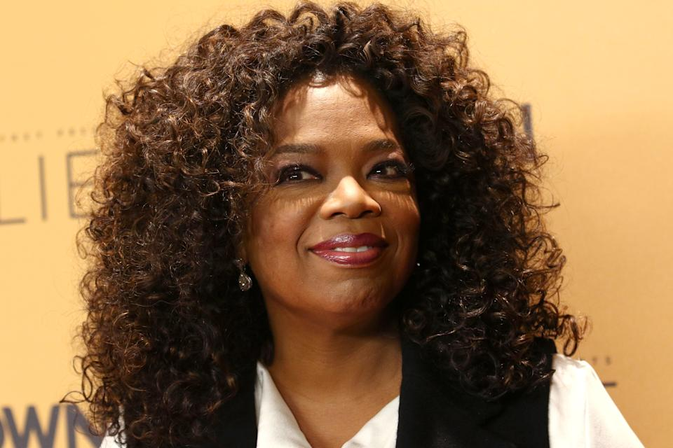 """FILE - In this Wednesday, Oct. 14, 2015 file photo, Oprah Winfrey attends the premiere of the Oprah Winfrey Network's (OWN) documentary series """"Belief"""" at The TimesCenter in New York. The value of Winfrey's 10 percent stake in Weight Watchers has slipped by $116 million after reaching a high of nearly $180 million last year. (Photo by Greg Allen/Invision/AP, File)"""