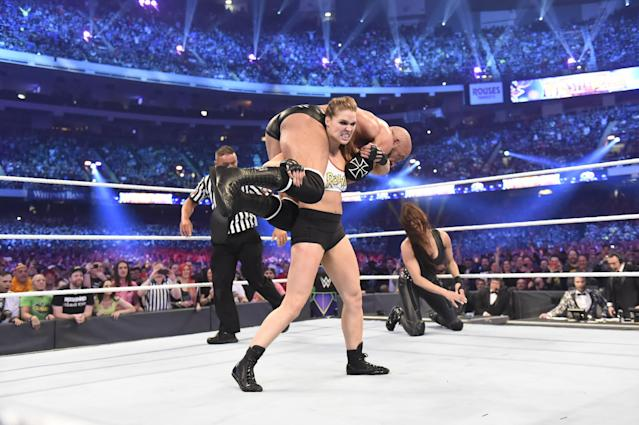 Ronda Rousey won in her WWE in-ring debut at WrestleMania 34 in New Orleans, La. on April 8, 2018. (Photo courtesy of WWE)