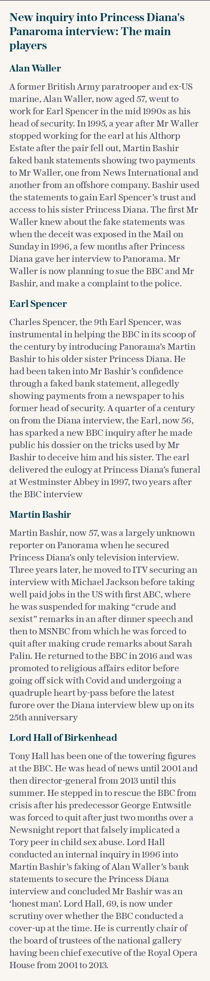 New inquiry into Princess Diana's Panaroma interview: The main players
