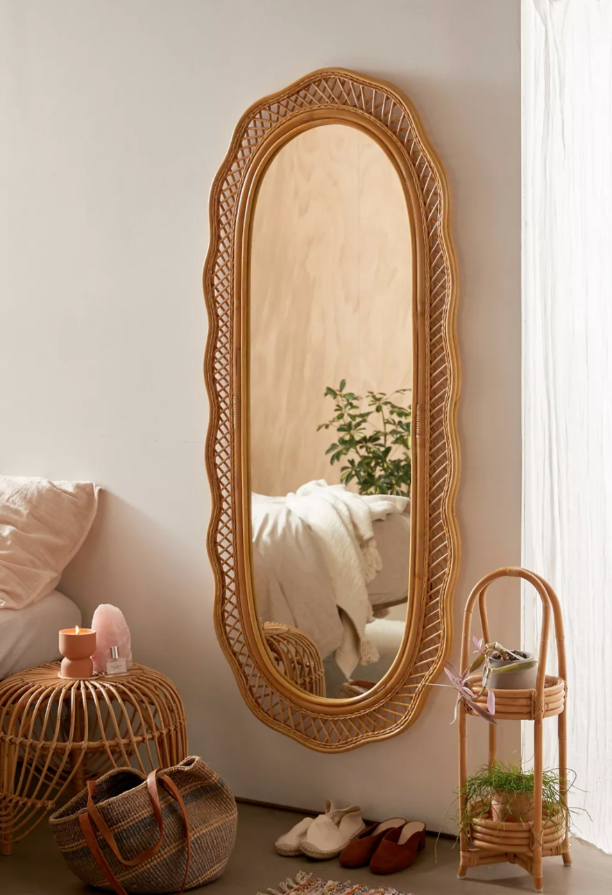 """<br><br><strong>Urban Outfitters</strong> Malorie Wicker Wall Mirror, $, available at <a href=""""https://go.skimresources.com/?id=30283X879131&url=https%3A%2F%2Fwww.urbanoutfitters.com%2Fshop%2Fmalorie-wicker-wall-mirror"""" rel=""""nofollow noopener"""" target=""""_blank"""" data-ylk=""""slk:Urban Outfitters"""" class=""""link rapid-noclick-resp"""">Urban Outfitters</a>"""