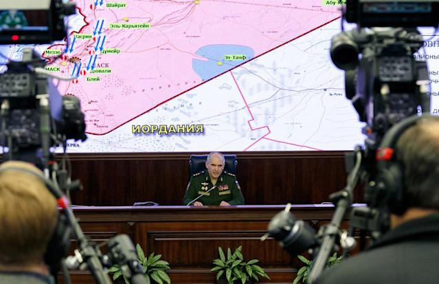 <p>Col Gen Sergei Rudskoi, chief of the Main Operational Directorate of the Russian Armed Forces' General Staff, holds a press briefing on airstrikes launched by the US, UK, and France against Syria. (Photo: Vadim Savitsky/TASS via Getty Images) </p>