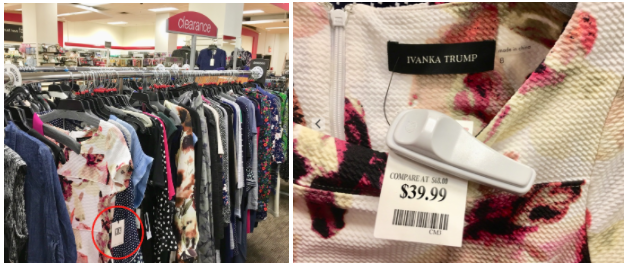 Ivanka Trump dresses mixed in the clearance rack at T.J. Maxx in Chelsea, NYC (Melody Hahm)
