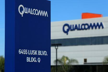 A building on the Qualcomm campus is seen, as chip maker Broadcom Ltd announced an unsolicited bid to buy peer Qualcomm Inc for $103 billion, in San Diego