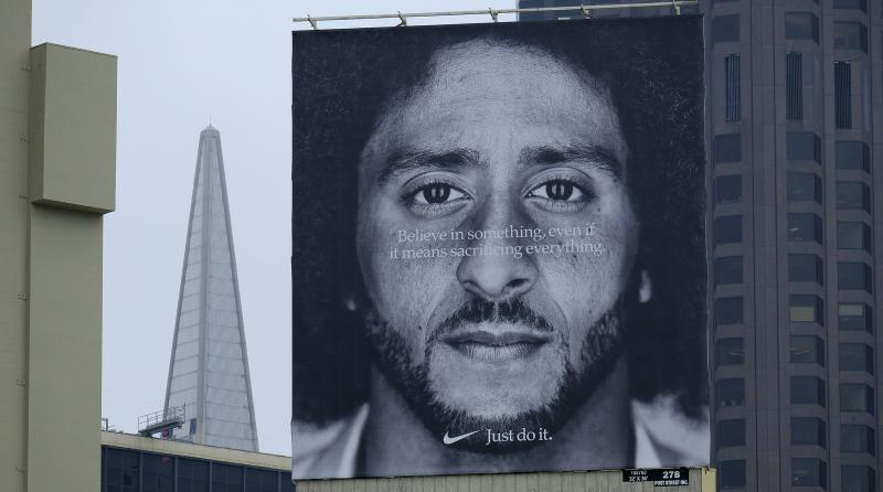 A large Colin Kaepernick billboard stands on top of a Nike store in San Francisco. (AP)