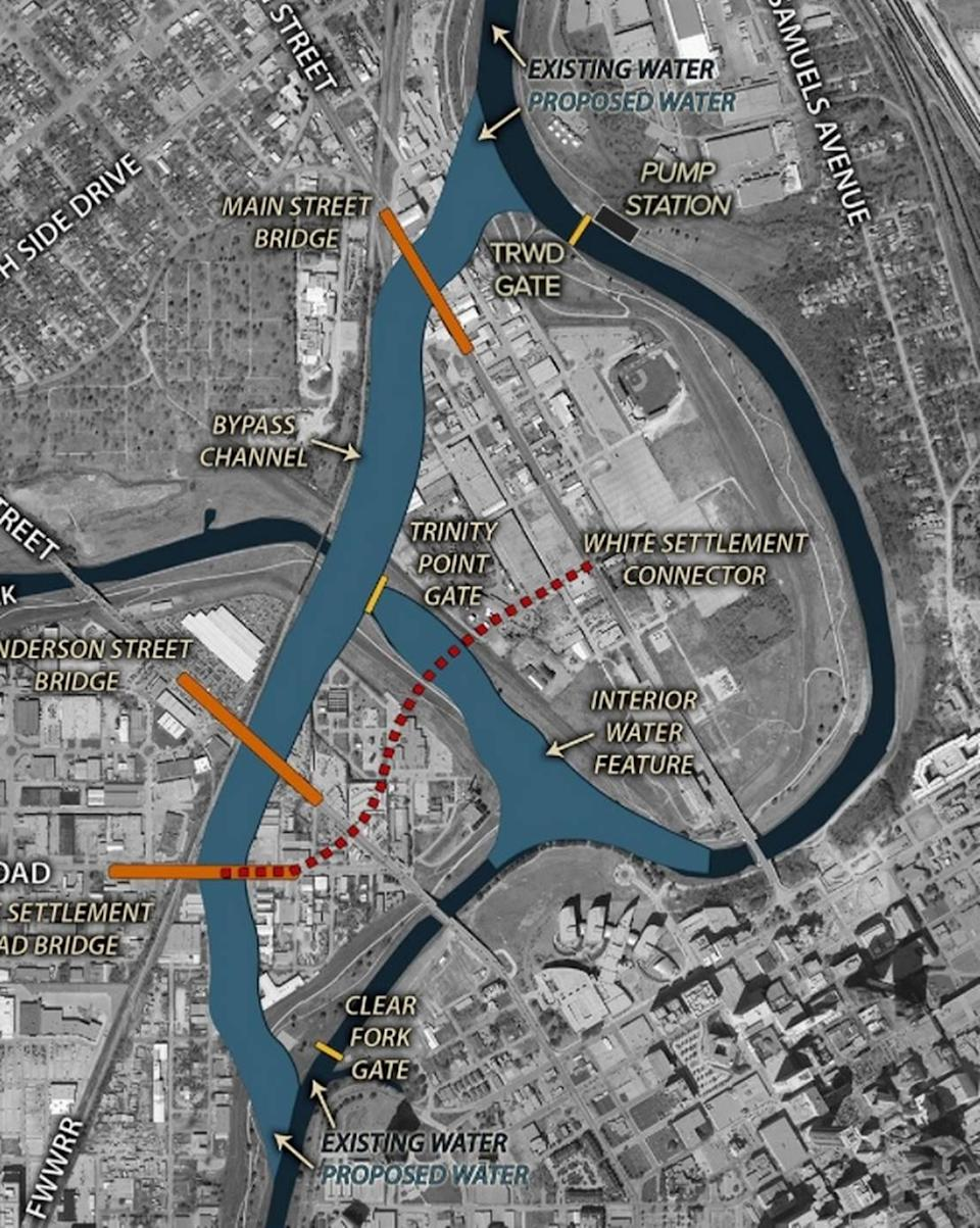 This map shows the route of the bypass channel that would create Panther Island, just north of downtown Fort Worth.