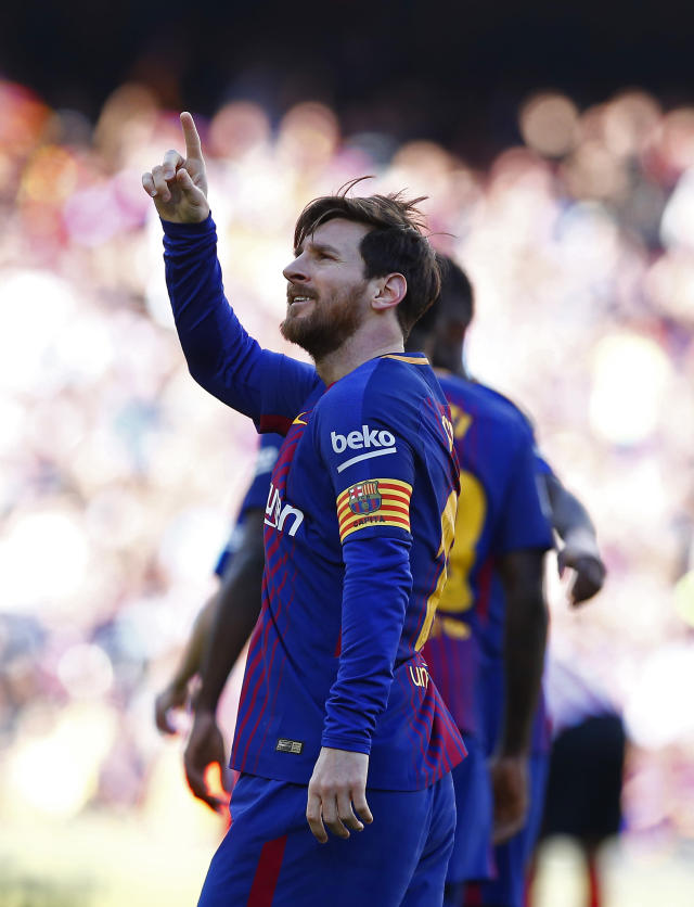 FC Barcelona's Lionel Messi celebrates after scoring during the Spanish La Liga soccer match between FC Barcelona and Athletic Bilbao at the Camp Nou stadium in Barcelona, Spain, Sunday, March 18, 2018. (AP Photo/Manu Fernandez)