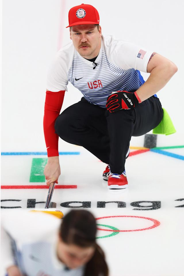 GANGNEUNG, SOUTH KOREA – FEBRUARY 11: Matt Hamilton and Becca Hamilton of the USA compete during the Curling Mixed Doubles on day two of the PyeongChang 2018 Winter Olympic Games. (Getty Images)