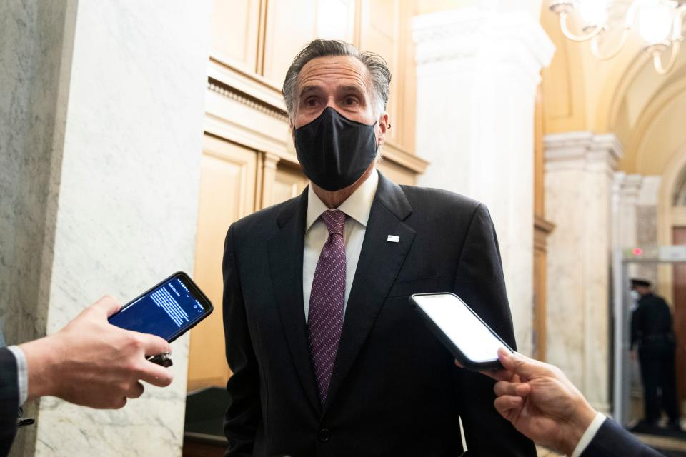 Republican Senator from Utah Mitt Romney  arrives for the third day of the second impeachment trial of former US President Donald Trump on Capitol Hill February 11, 2021, in Washington, DC. (Michael Reynolds/AFP via Getty Images)