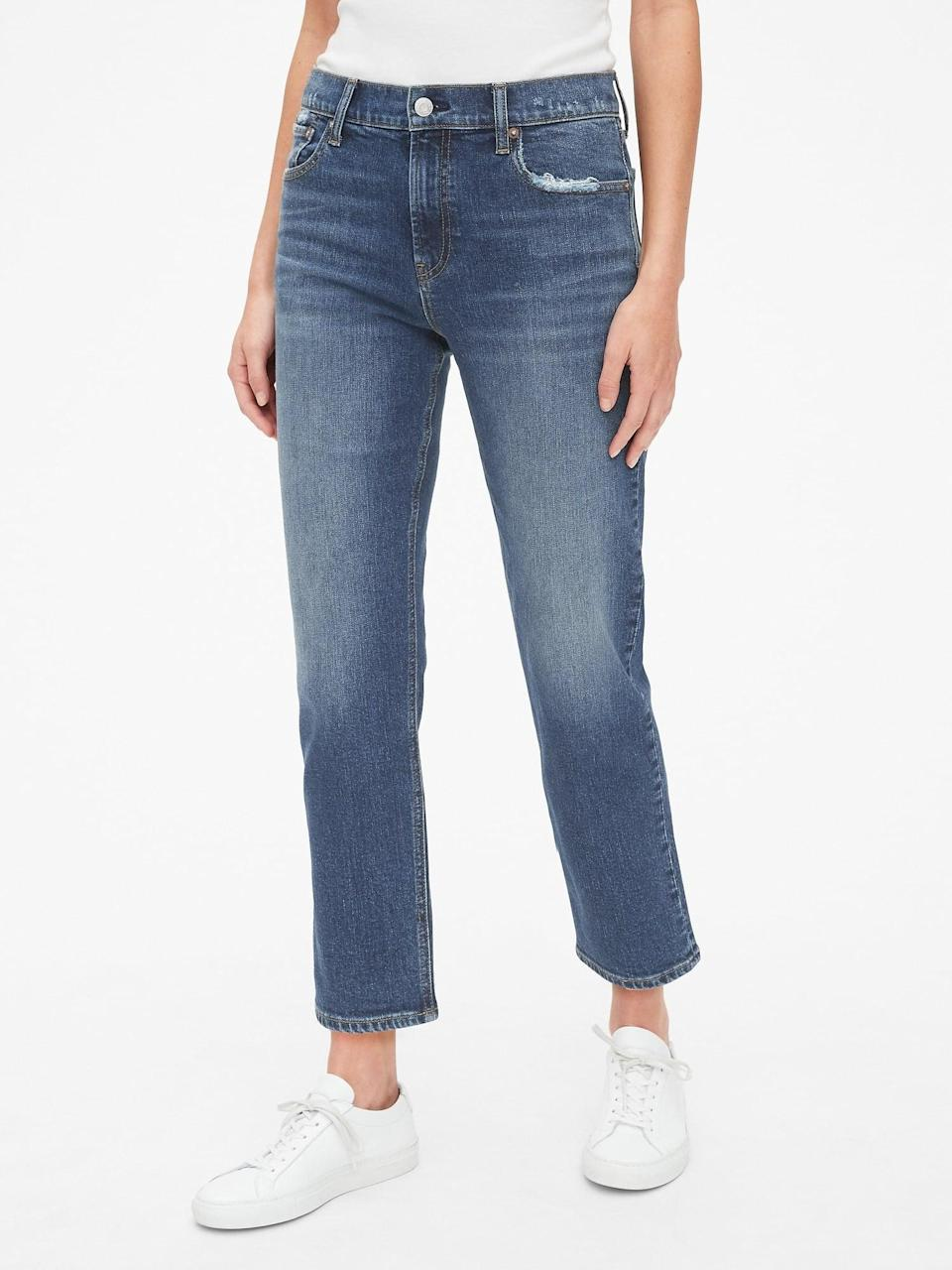<p>These <span>Gap High Rise Cheeky Straight Jeans</span> ($70) have minimal stretch but look so good with sneakers or sandals.</p>