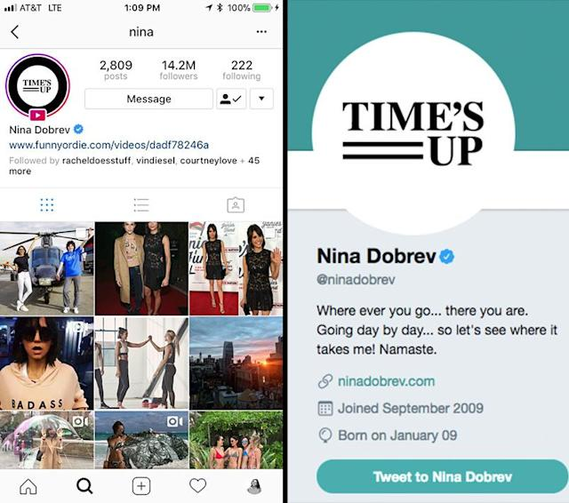 Dobrev deleted the Depp pic, but her profile photos — of the TIme's Up logo — remain the same. (Photos: Instagram/Twitter)