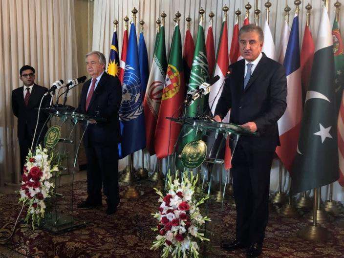 Pakistan's Foreign Minister Shah Mahmood Qureshi and United Nations Secretary-General Antonio Guterres address a joint news conference, in Islamabad