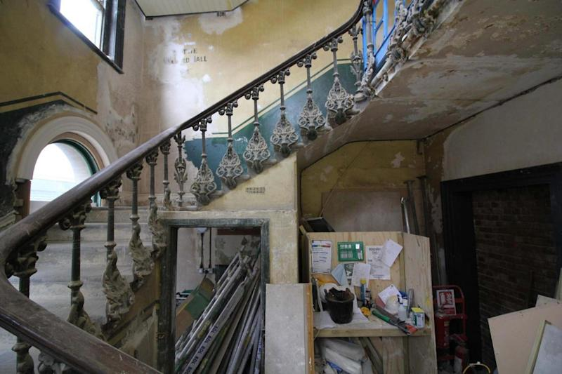 Restoration work: The cast iron staircase which is to be restored to its original style. (Benedict O'Looney architects)