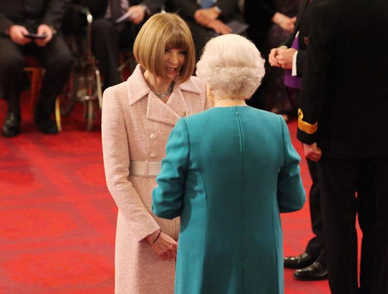 Anna did remove her glasses when she was made a Dame Commander last year. Photo: Getty