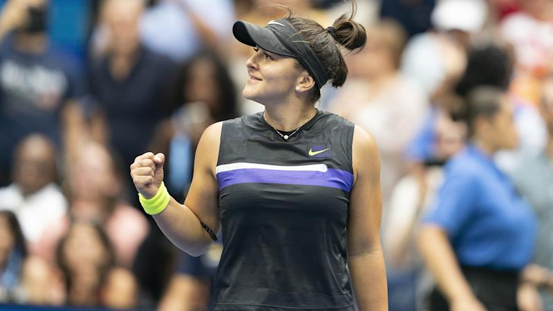 NEW YORK, USA - SEPTEMBER 7: Bianca Andreescu of Canada in action against Serena Williams (not seen) of USA during US Open Championships women's singles final match at Billie Jean King National Tennis Center in New York, United States on September 7, 2019. (Photo by Lev Radin/Anadolu Agency via Getty Images)