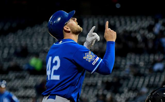 "<a class=""link rapid-noclick-resp"" href=""/mlb/players/9579/"" data-ylk=""slk:Hunter Dozier"">Hunter Dozier</a>'s fantasy value could be shooting up this year (AP Photo/Matt Marton)"