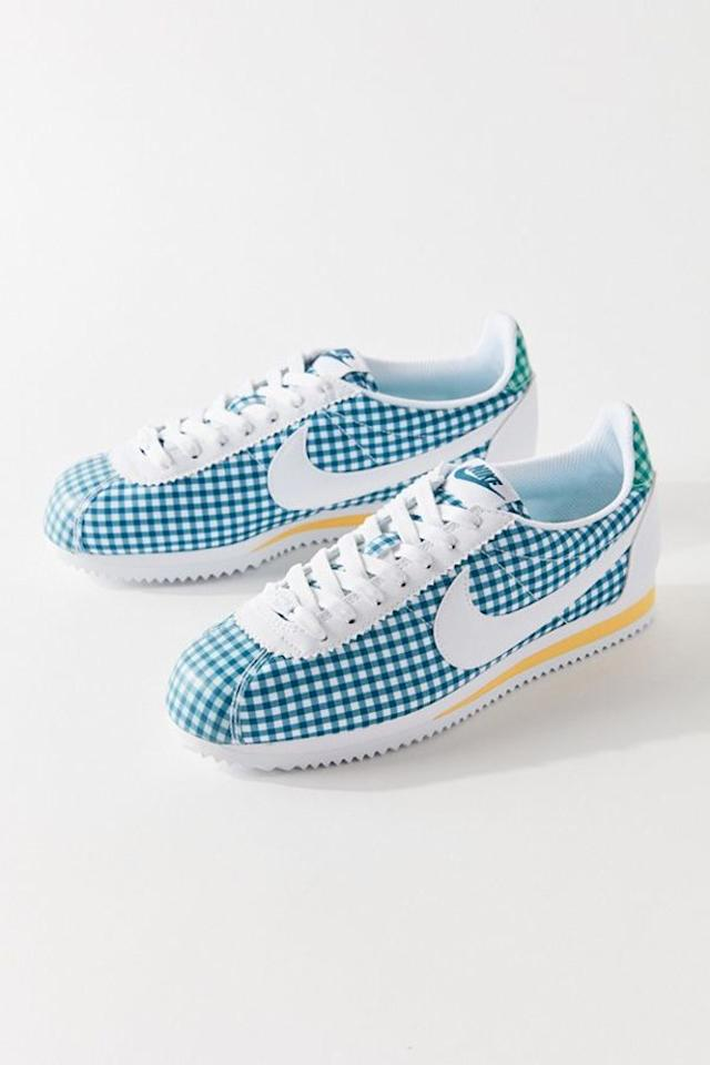 "Frank Ocean said it best: we just want Nikes, and these gingham ones from Urban Outfitters are too cute to not add to cart. Not only will they bring summer vibes to all your fall outfits, but they will also make them pop with this bright colorway. $90, Urban Outfitters. <a href=""https://www.urbanoutfitters.com/shop/nike-classic-cortez-qs-sneaker?category=shoes-for-women&color=000&type=REGULAR"">Get it now!</a>"