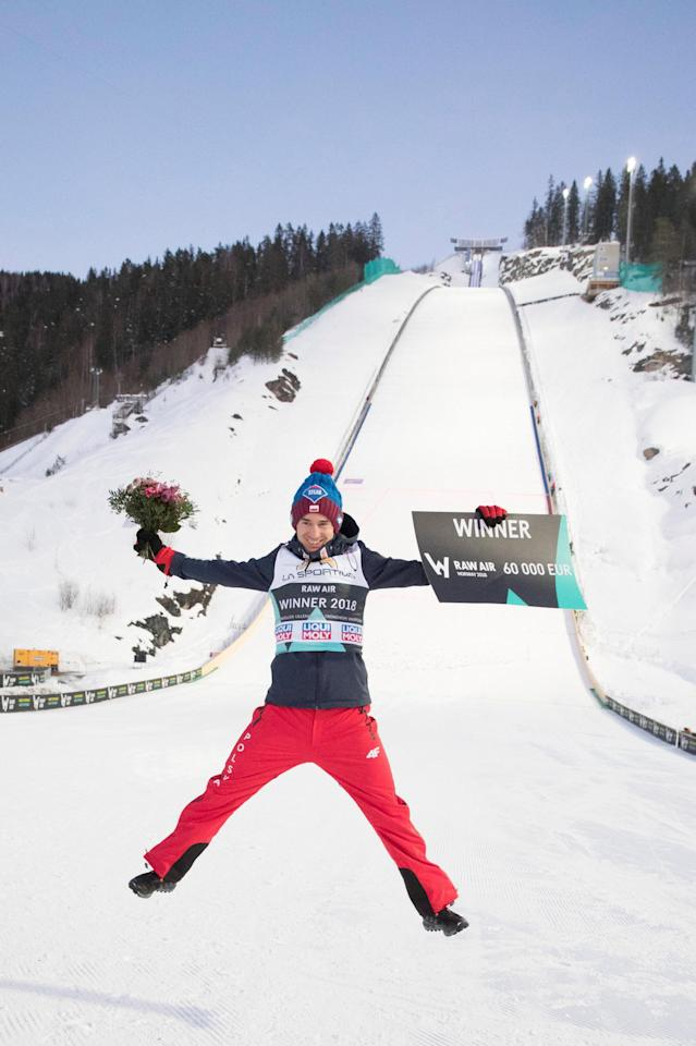 Ski Jumping - FIS World Cup - Men's HS240 - Vikersund, Norway - March 18, 2018. 2018 Raw Air overall winner Kamil Stoch of Poland celebrates. NTB Scanpix/Terje Bendiksby via REUTERS ATTENTION EDITORS - THIS IMAGE WAS PROVIDED BY A THIRD PARTY. NORWAY OUT. NO COMMERCIAL OR EDITORIAL SALES IN NORWAY.