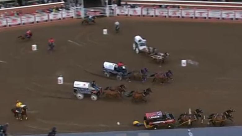 Chuckwagon driver tumbles under wheels at Calgary Stampede, breaking clavicle