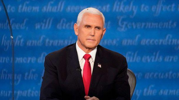 PHOTO: Vice President Mike Pence listens during the vice presidential debate, Oct. 7, 2020, at Kingsbury Hall on the campus of the University of Utah in Salt Lake City. (Julio Cortez/AP)