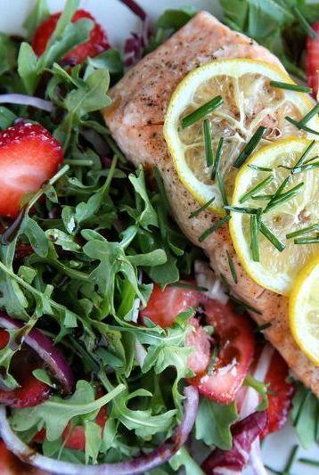 """<p>This is everything we want in a summer meal: Fast, easy and super fresh.</p><p>Get the <a href=""""http://www.delish.com/uk/cooking/recipes/a32487382/roasted-salmon-with-strawberry-recipe/"""" rel=""""nofollow noopener"""" target=""""_blank"""" data-ylk=""""slk:Roast Salmon With Strawberry Rocket Salad"""" class=""""link rapid-noclick-resp"""">Roast Salmon With Strawberry Rocket Salad</a> recipe. </p>"""