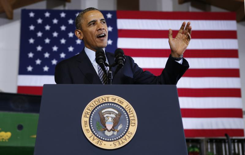 U.S. President Obama speaks during a visit to Michigan State University in Lansing