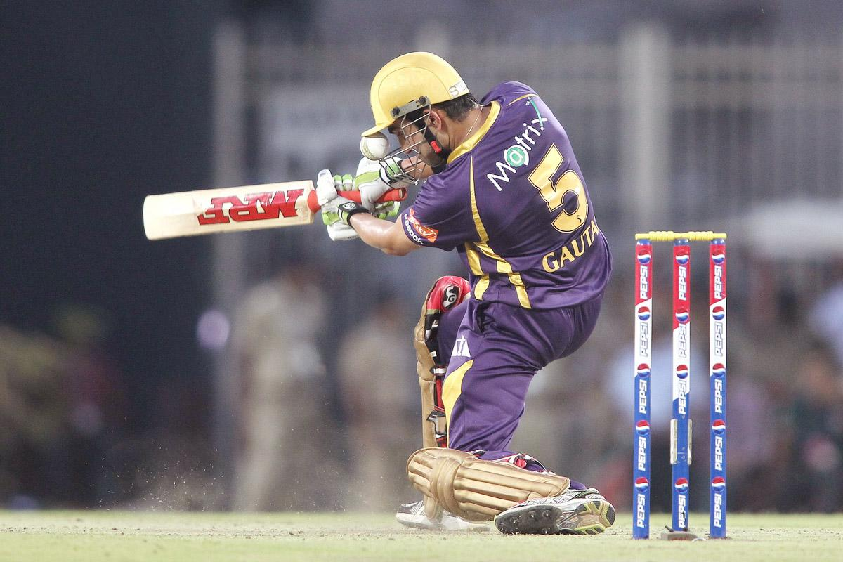 The ball gets stuck in Kolkata Knight Riders captain Gautam Gambhir's helmet grill after attempting to square drive a delivery during match 60 of the Pepsi Indian Premier League between The Kolkata Knight Riders and the Royal Challengers Bangalore held at the JSCA International Stadium Complex, Ranchi, India on the 12th May 2013.(BCCI)