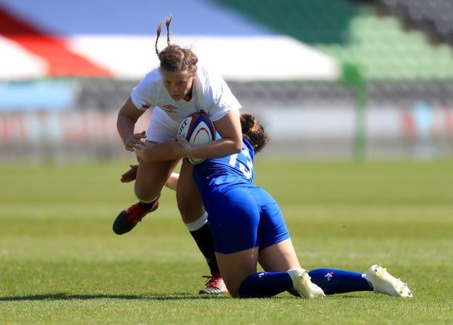 England's Vickii Cornborough (left) is tackled by France's Carla Neisen