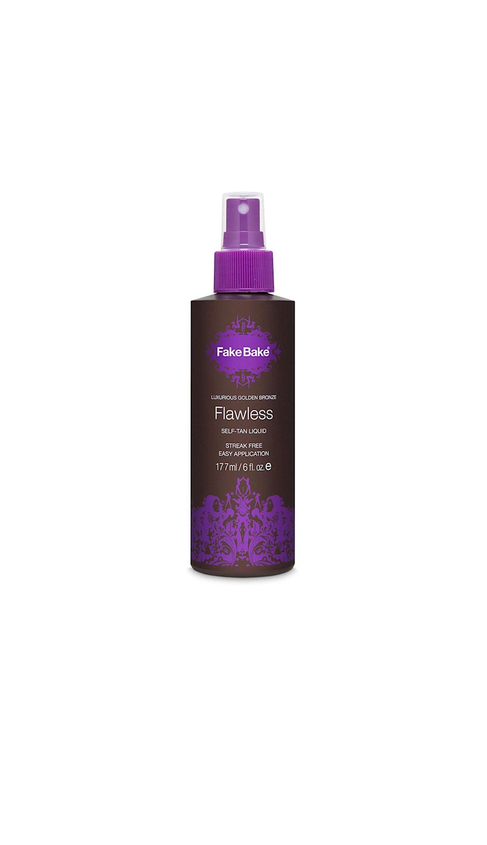 """<h3>Fake Bake Flawless Self Tan Liquid<br></h3><br><strong>The Impossible-To-Mess-Up Self Tanner</strong><br><br>Fake Bake's fluid-like texture feels like nothing on skin, but leaves behind the most realistic, transfer-proof, bronze glow.<br><br><strong>The Hype:</strong> 4.4 out of 5 stars and 609 reviews on <a href=""""https://amzn.to/39VISEt"""" rel=""""nofollow noopener"""" target=""""_blank"""" data-ylk=""""slk:Ulta Beauty"""" class=""""link rapid-noclick-resp"""">Ulta Beauty</a><br><br><strong>Reviewers Say: </strong>""""I have tried them all — some are better than others, but this is the best! Besides the color, the most important thing to me is that self tanners dry quickly and never be greasy or sticky. This is neither. By the time I'm done applying it, it's dry, and with no stickiness whatsoever. The color is very natural and I can't say anything negative about this, except that I wish I had tried it a long time ago. I'm throwing out all my other self tanners that I thought were good because this is the only one I will ever buy again!!!!!"""" — Heather, Ulta Beauty Reviewer<br><br><strong>Fake Bake</strong> Flawless Self-Tanning Liquid, $, available at <a href=""""https://go.skimresources.com/?id=30283X879131&url=https%3A%2F%2Fwww.ulta.com%2Fflawless-self-tanning-liquid-professional-mitt%3FproductId%3DxlsImpprod3850005"""" rel=""""nofollow noopener"""" target=""""_blank"""" data-ylk=""""slk:Ulta Beauty"""" class=""""link rapid-noclick-resp"""">Ulta Beauty</a>"""