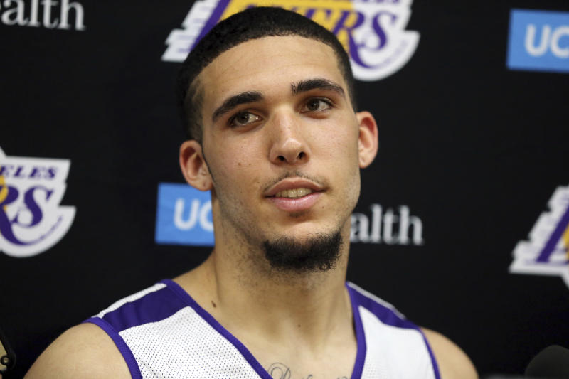 LiAngelo Ball speaks with the media at a pre-draft workout at the Los Angeles Lakers' NBA basketball facility in El Segundo, Calif., Tuesday, May 29, 2018. (AP Photo/Reed Saxon)