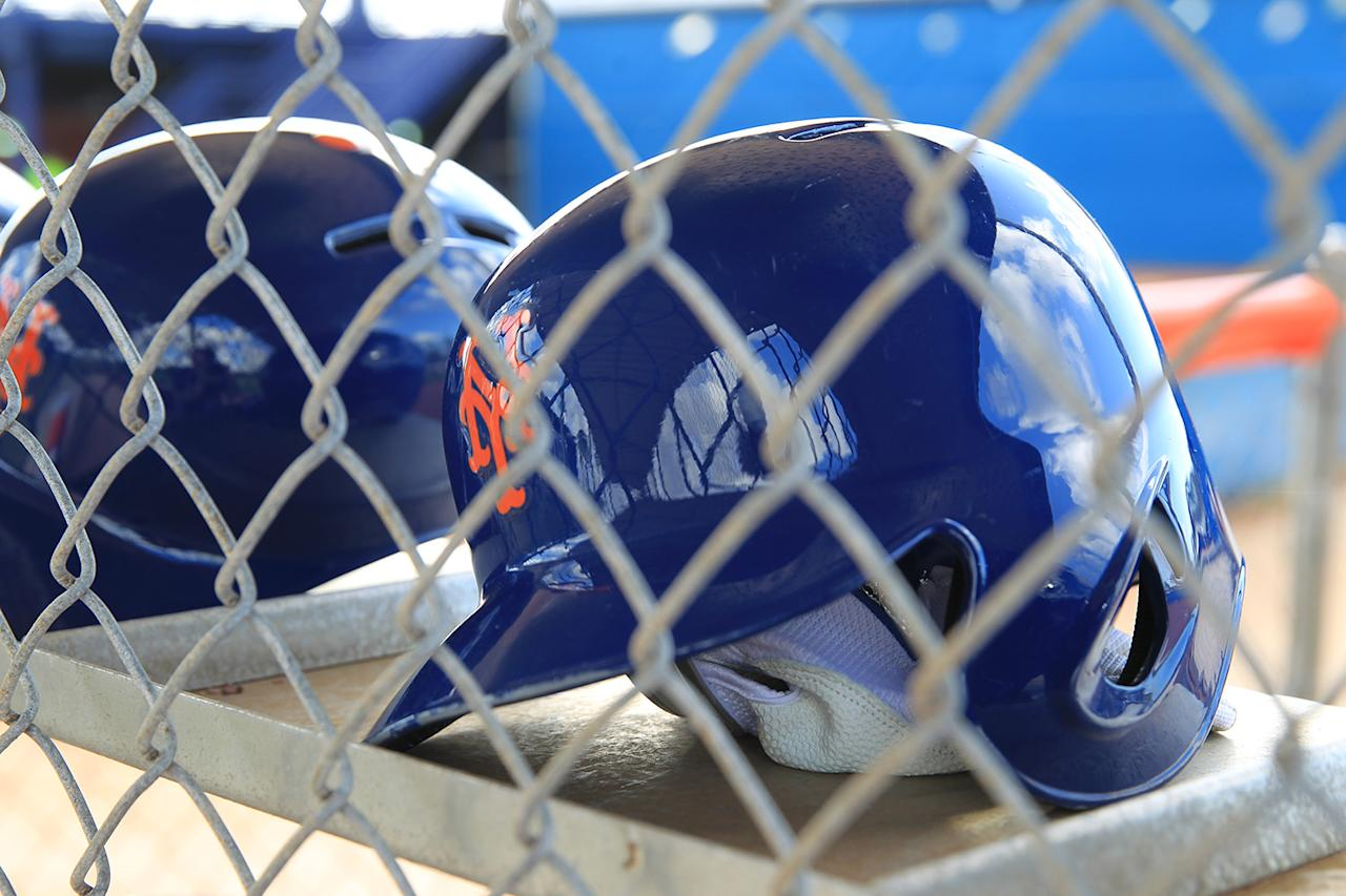<p>New York Mets batting helmets rest in a rack at the Mets spring training facility in Port St. Lucie, Fla., Monday, Feb. 27, 2017. (Gordon Donovan/Yahoo Sports) </p>