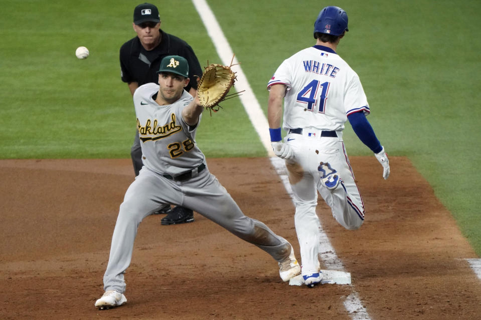 Texas Rangers' Eli White (41) reaches first base ahead of the throw to Oakland Athletics first baseman Matt Olson on an infield hit in the fourth inning of a baseball game Thursday, June 24, 2021, in Arlington, Texas. (AP Photo/Louis DeLuca)
