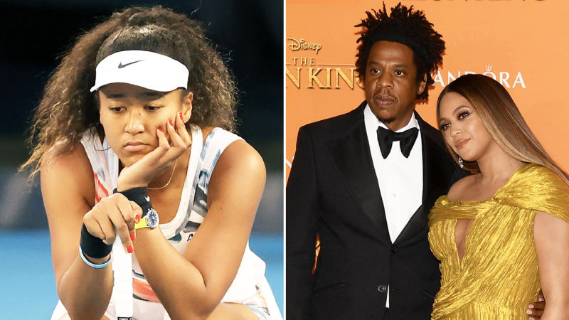 Naomi Osaka (pictured left) looking dejected after a point and Beyonce and Jay-Z (pictured right) posing for a photo.
