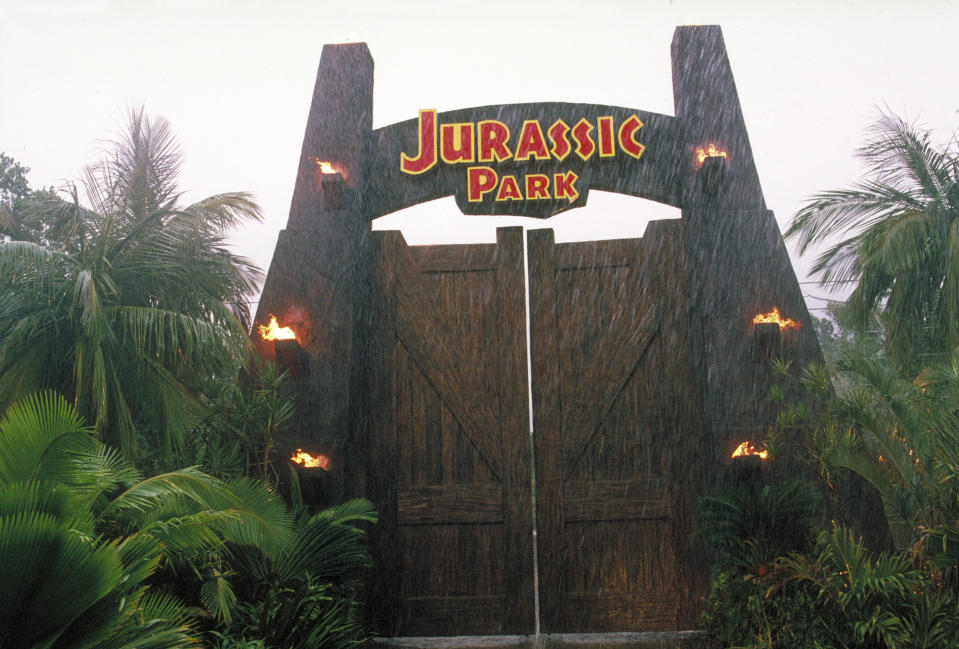 The gateway to the eponymous theme park, from the film 'Jurassic Park', 1993.  (Photo by Murray Close/Getty Images)