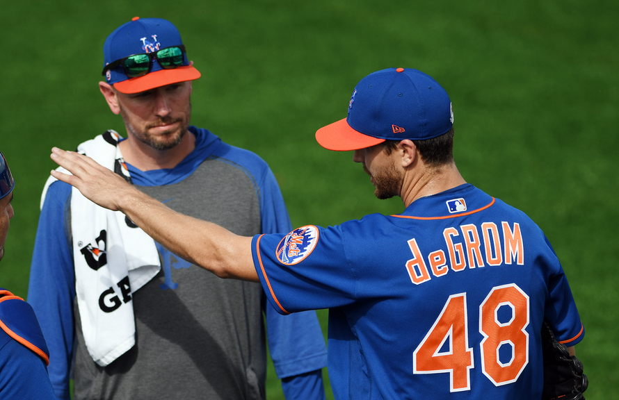 Jeremy Hefner and Jacob deGrom in Spring Training 2020