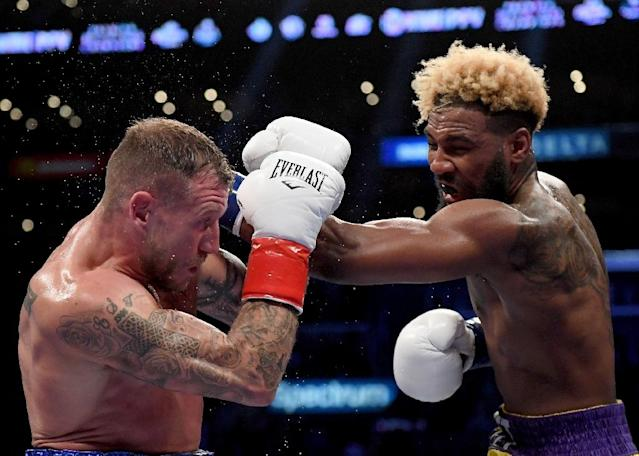 Jarrett Hurd (right) will defend his super welterweight titles in May against fellow American Julian Williams (AFP Photo/Harry How)