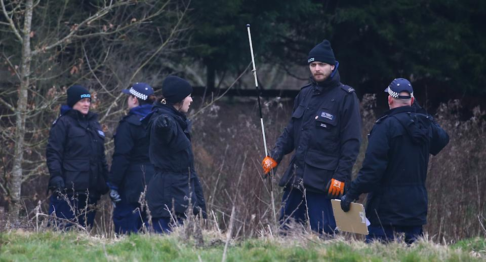 Officers scaled land in Ashford, Kent, where human remains were found. Source: PA/AAP
